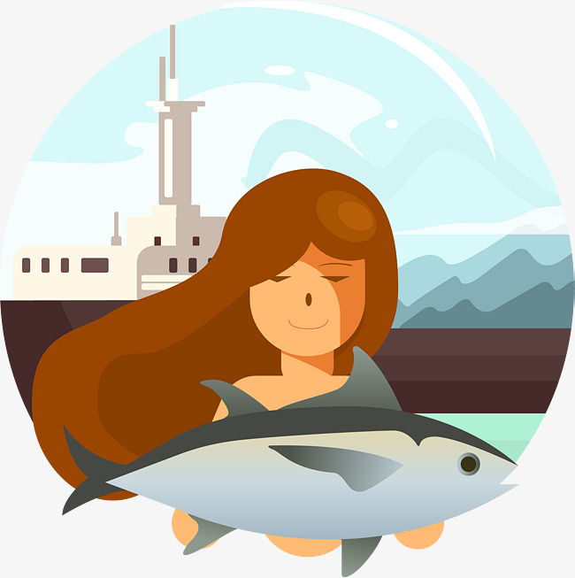 650x653 The Girl Held The Fish, Girl Vector, Fish Vector, Barracuda Png