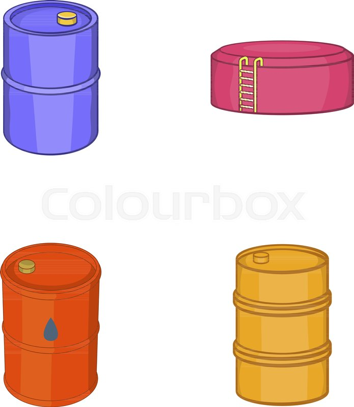 695x800 Oil Barrel Icon Set. Cartoon Set Of Oil Barrel Vector Icons For