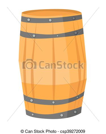 374x470 Wooden Barrel Vector Illustration. Big Round Wooden Barrel Vector
