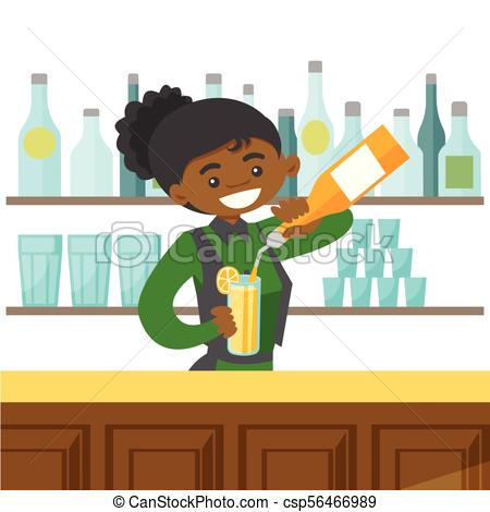 450x470 Young African American Bartender Making A Cocktail. Young