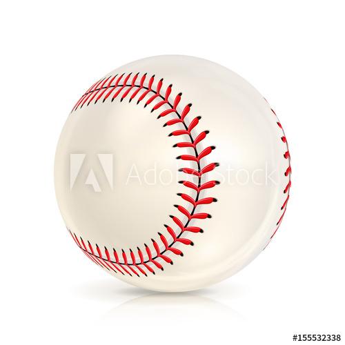 500x500 Baseball Leather Ball Isolated On White. Softball Base Ball. Shiny
