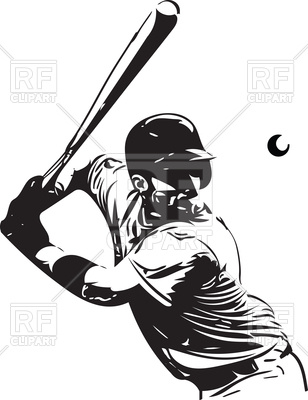 308x400 Baseball Player With Baseball Bat Vector Image Vector Artwork Of