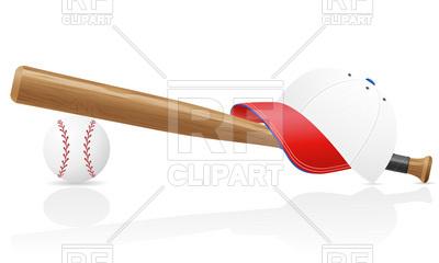 400x240 Baseball Bat, Cap And Ball Vector Image Vector Artwork Of Sport