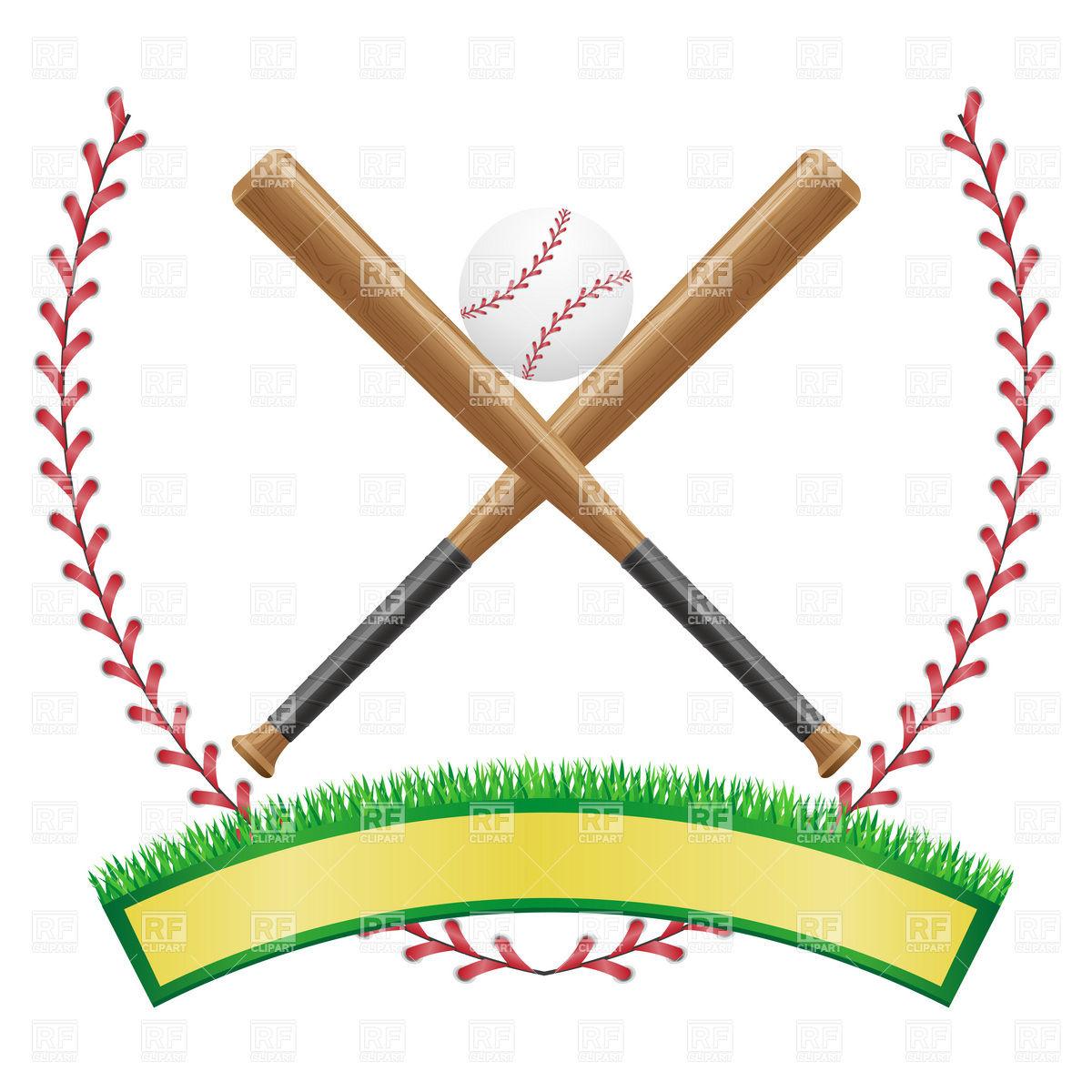 1200x1200 Baseball Emblem With Banner, Ball And Baseball Bats Vector Image
