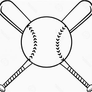 300x300 Black And White Crossed Baseball Bats And Ball Vector Clipart