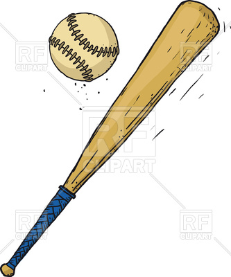 333x400 Carelessly Painted Wooden Baseball Bat And Ball Isolated On White