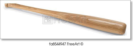 560x197 Free Art Print Of Baseball Bat. Vector Wooden Baseball Bat