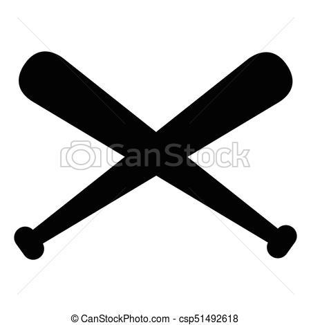 450x470 Isolated Pair Of Baseball Bats. Isolated Silhouette Of A Pair Of