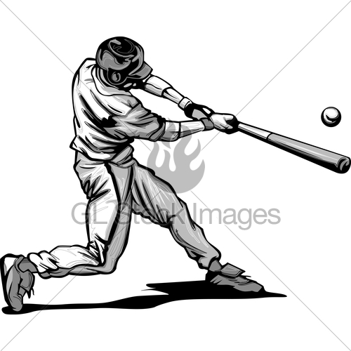 500x500 Baseball Batter Hitting Pitch Vector Image Gl Stock Images