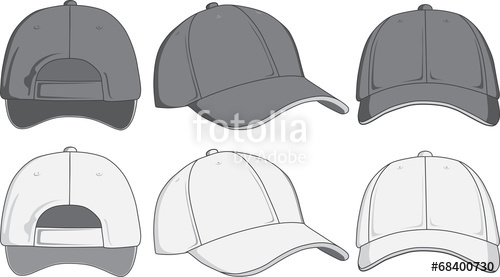 500x277 Baseball Cap, Front, Back And Side View. Vector Illustration
