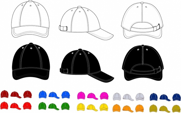 600x374 Baseball Cap Free Vector In Adobe Illustrator Ai ( .ai