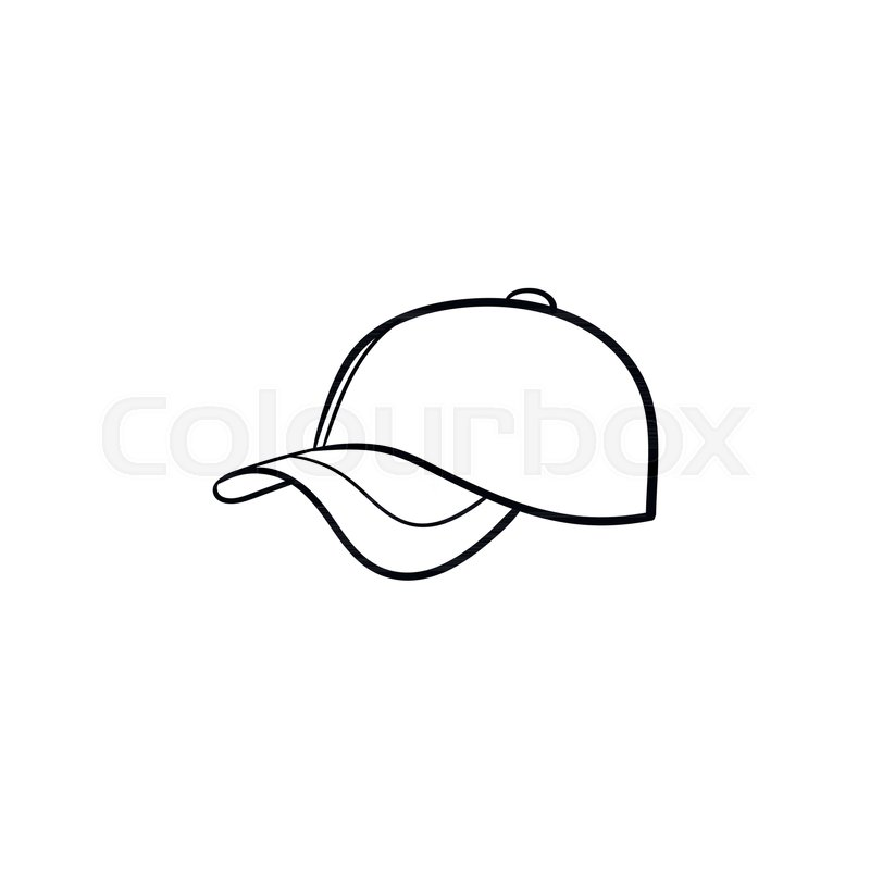 800x800 Baseball Hat Hand Drawn Outline Doodle Icon. Cap Vector Sketch