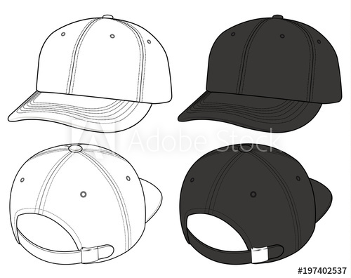 500x396 Basic Ball Cap Vector Illustration Flat Sketches Template