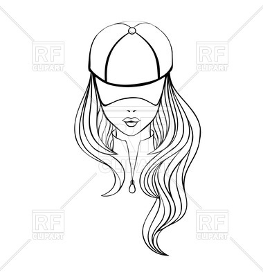 380x400 Outline Of Woman With Long Hair In Baseball Cap Vector Image
