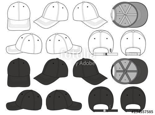 500x373 Baseball Cap Vector Illustration Flat Sketches Template Stock