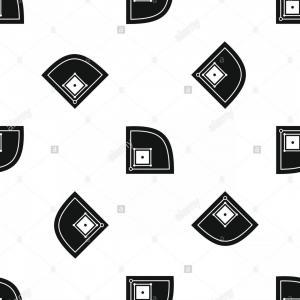300x300 Black And White Baseball Diamond Vector Art Arenawp