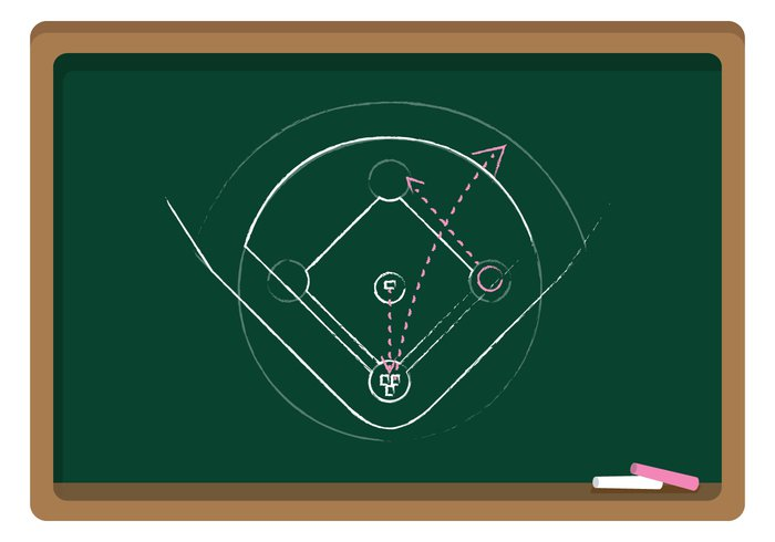 700x490 Vector Chalkboard Baseball Diamond Ai Format Free Vector
