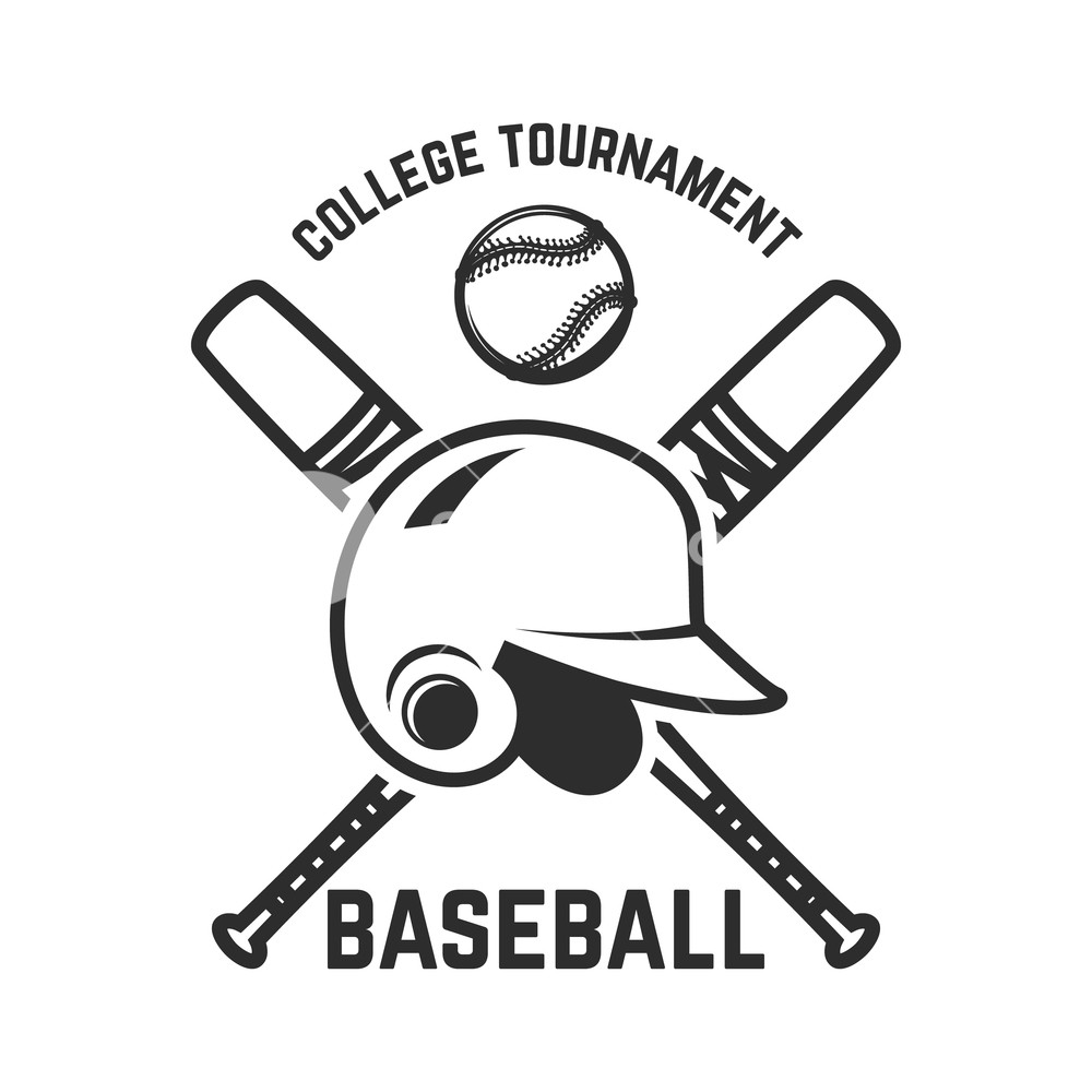 1000x1000 Emblem With Crossed Baseball Bat And Baseball Helmet. Design