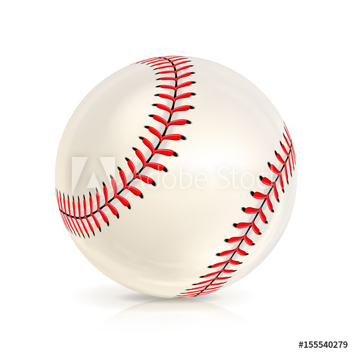 500x500 Baseball Leather Ball Close Up Isolated On White. Realistic