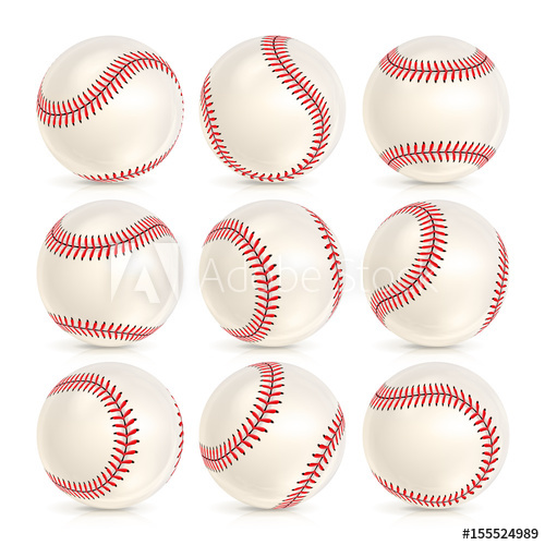 500x500 Baseball Leather Ball Close Up Set Isolated On White. Softball