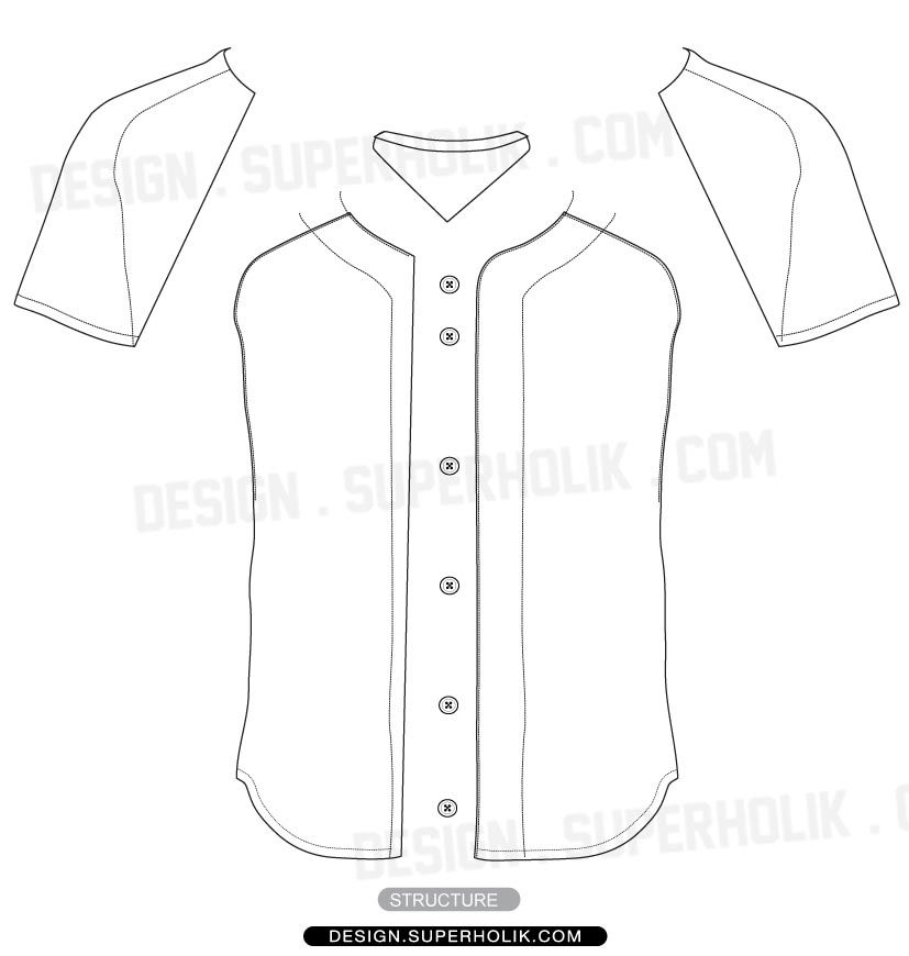 827x870 Baseball Jersey Shirt Vector Template Textil.