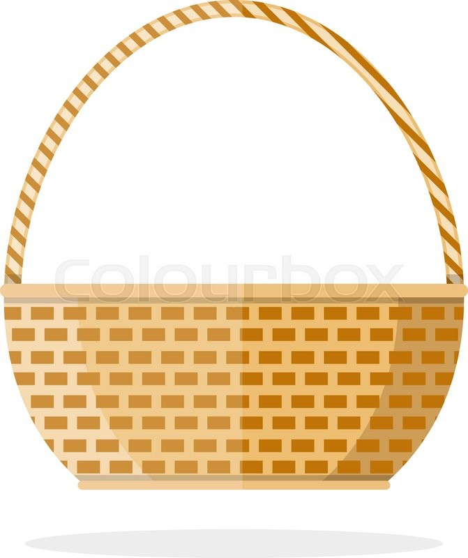 671x800 Empty Brown Woven Wicker Basket Isolated On White Background