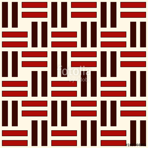 500x500 Wicker Seamless Pattern. Basket Weave Motif. Red Colors Geometric