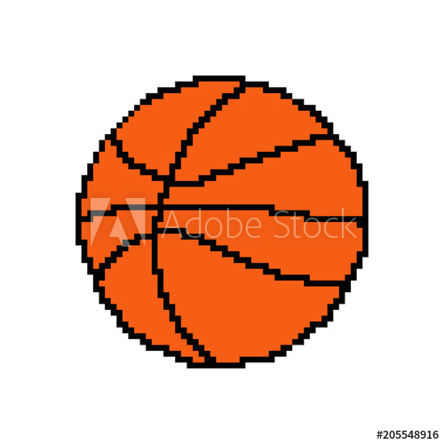500x500 Pixel Art Basketball Ball. Vector 8 Bit Game Web Icon Isolated On
