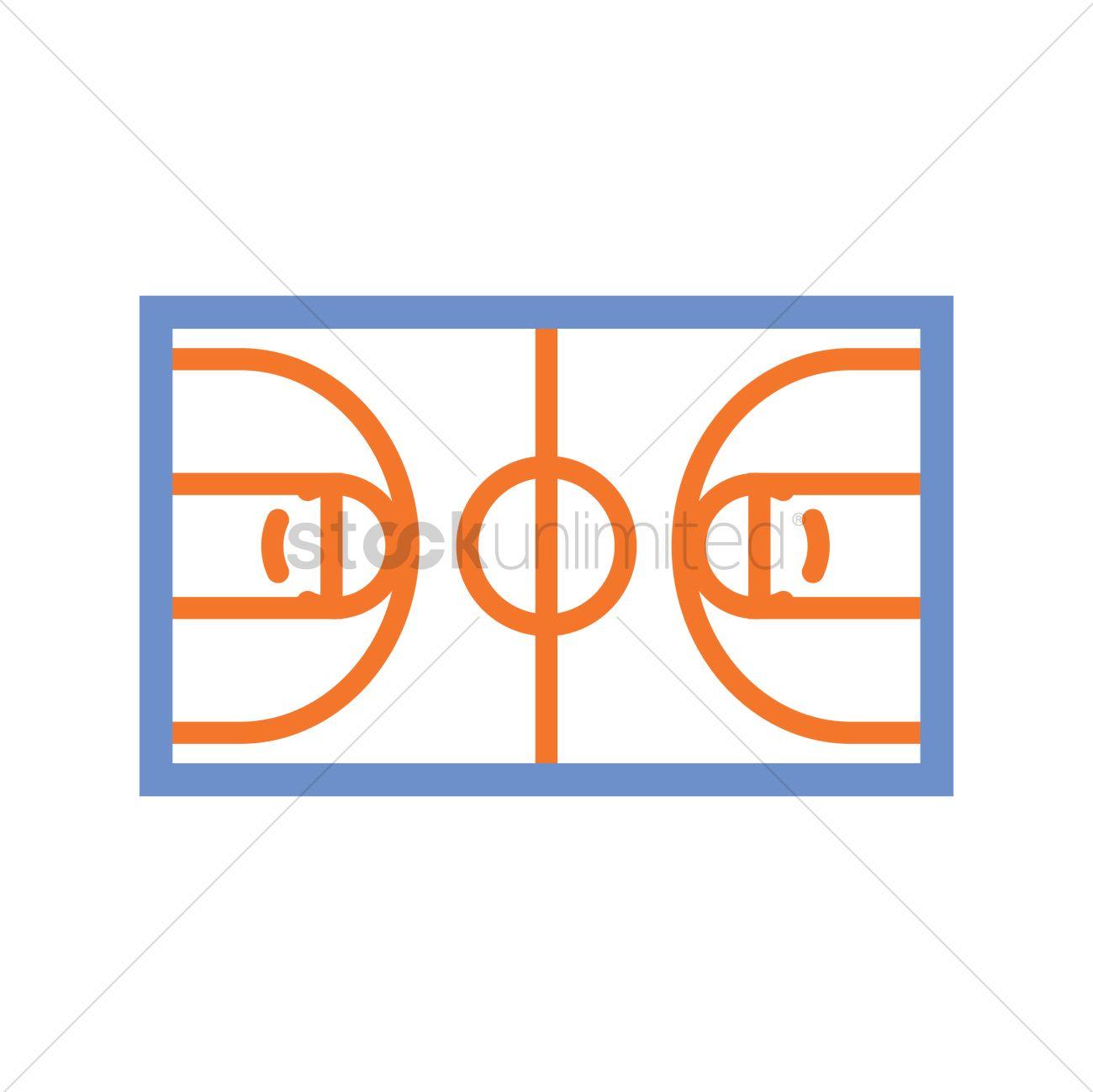 1300x1299 Basketball Court Vector Image