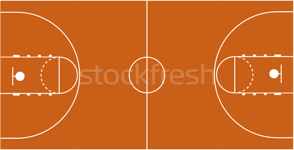 600x306 Vector Illustration Of The Basketball Court Vector Illustration