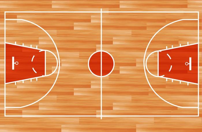 700x457 Wooden Parquet Floor Basketball Court. Vector Wall Mural Pixers