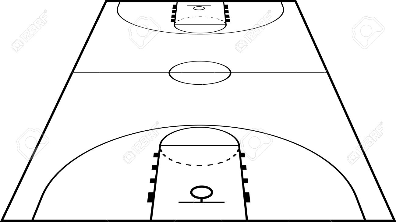 1300x729 Basketball Court Clipart Black And White