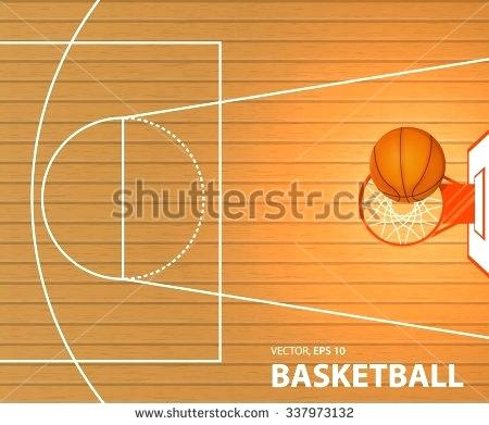 450x391 Basket Court Vector Illustration Banner A Basketball Court A Ball
