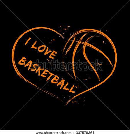 450x470 Basketball Love Vector Illustration Of Basketball Heart On Black
