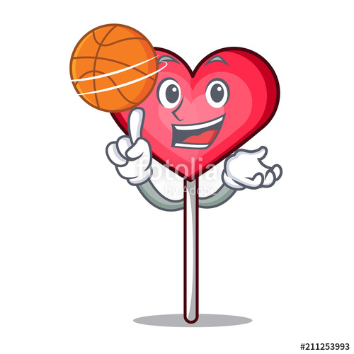 500x500 With Basketball Heart Lollipop Character Cartoon Stock Image And