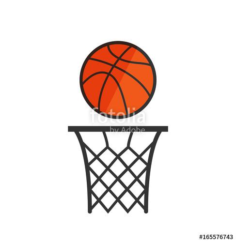 487x500 Basketball Net With A Ball. Basketball Icon. Vector Stock. Stock