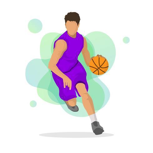 490x490 Flat Basketball Player Vector Illustration