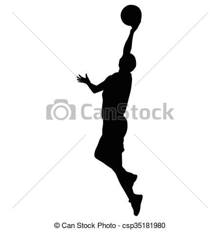 450x470 Shooting Basketball Player, Vector Silhouette.