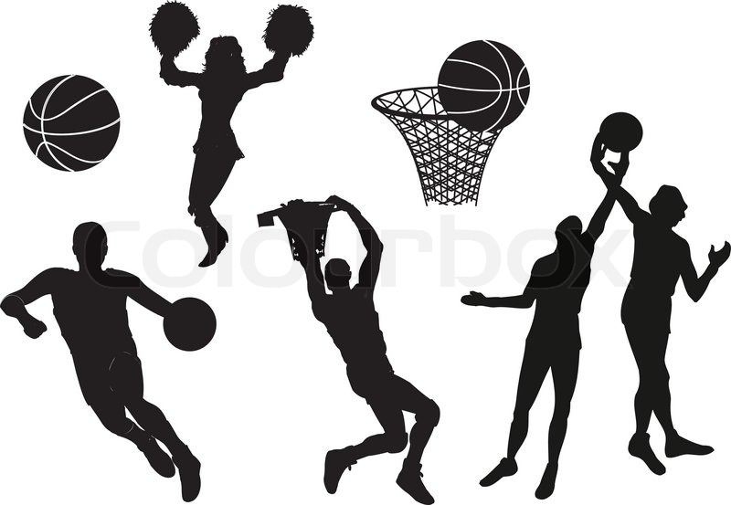 800x553 Silhouettes Of Basketball Players Vector Stock Vector Colourbox