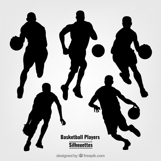 626x626 Silhouettes Of Basketball Players Vector Free Download