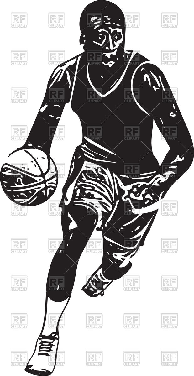 619x1200 Sketch Of Basketball Player Vector Image Vector Artwork Of