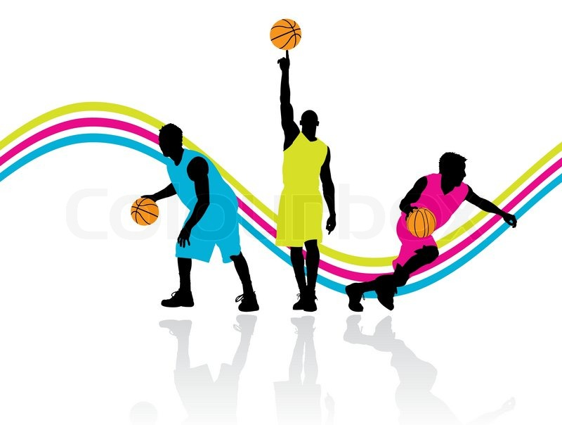800x604 Three Basketball Players With Reflection On The Floor, Vector