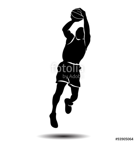 475x500 Vector Silhouette Of A Basketball Player Stock Image And Royalty