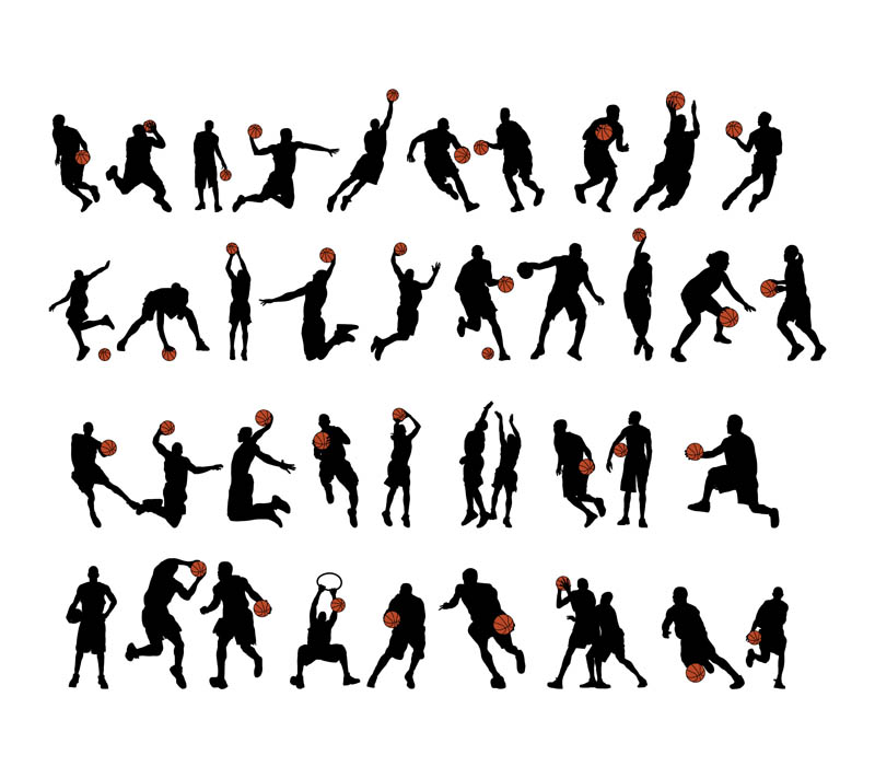 800x711 Basketball Players Silhouettes Vector Set