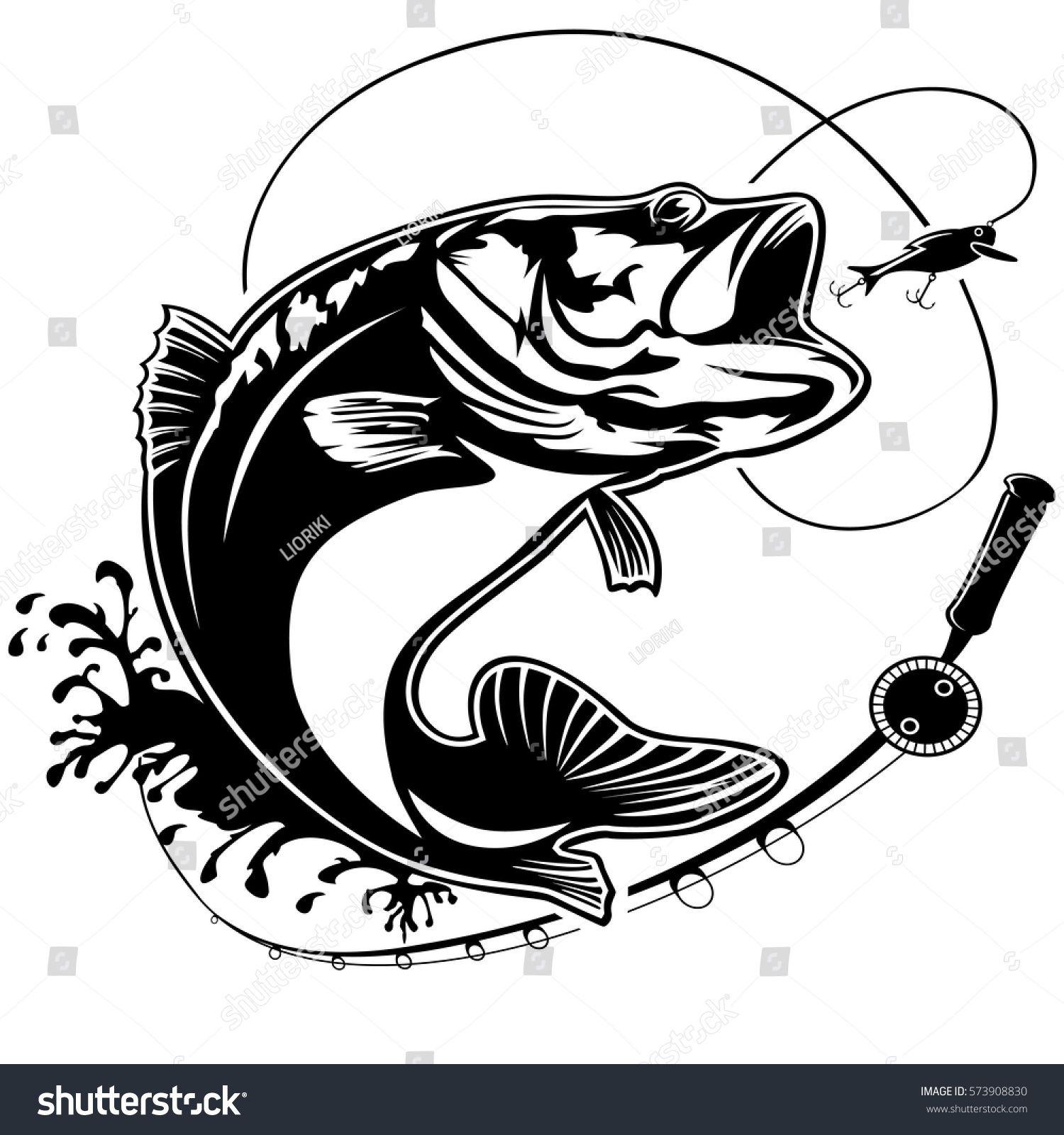 1500x1600 Fishing Logo. Bass Fish Club Emblem. Fishing Theme Vector