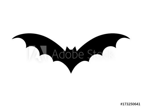 500x375 Bat Vector Illustration. Halloween Scary Bat In Black Color