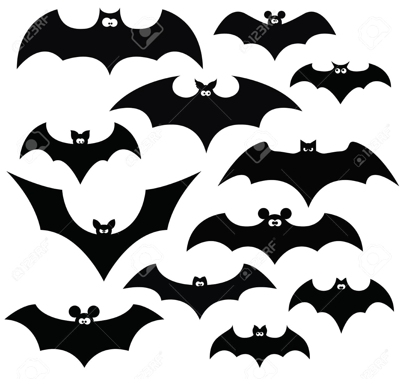 1300x1223 Cartoon Set Of Black Silhouettes Bats Vector Royalty Free Unusual