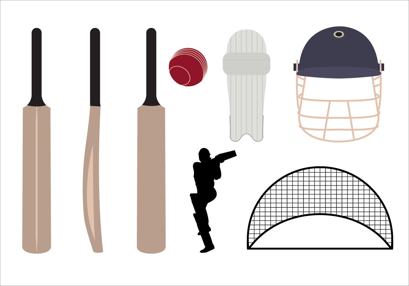 1400x980 Cricket Bat Free Vector Art