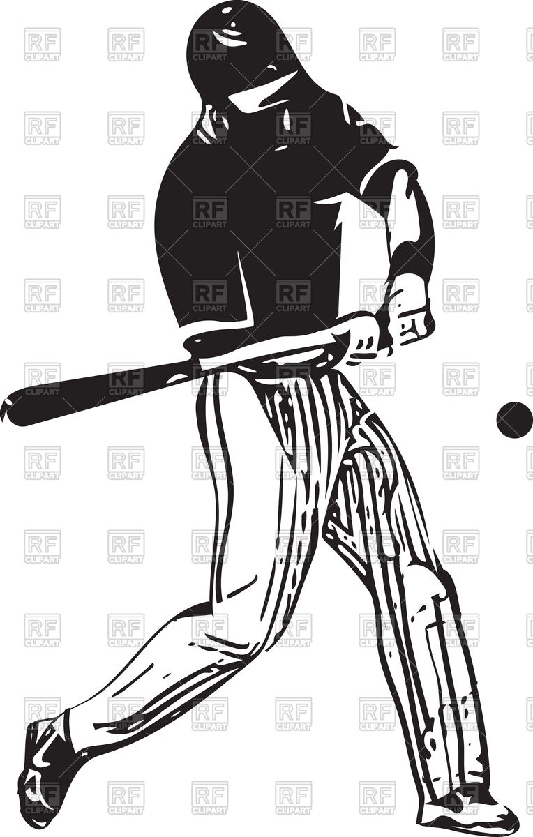 764x1200 Illustration Of Baseball Player Returning A Ball With Bat Vector