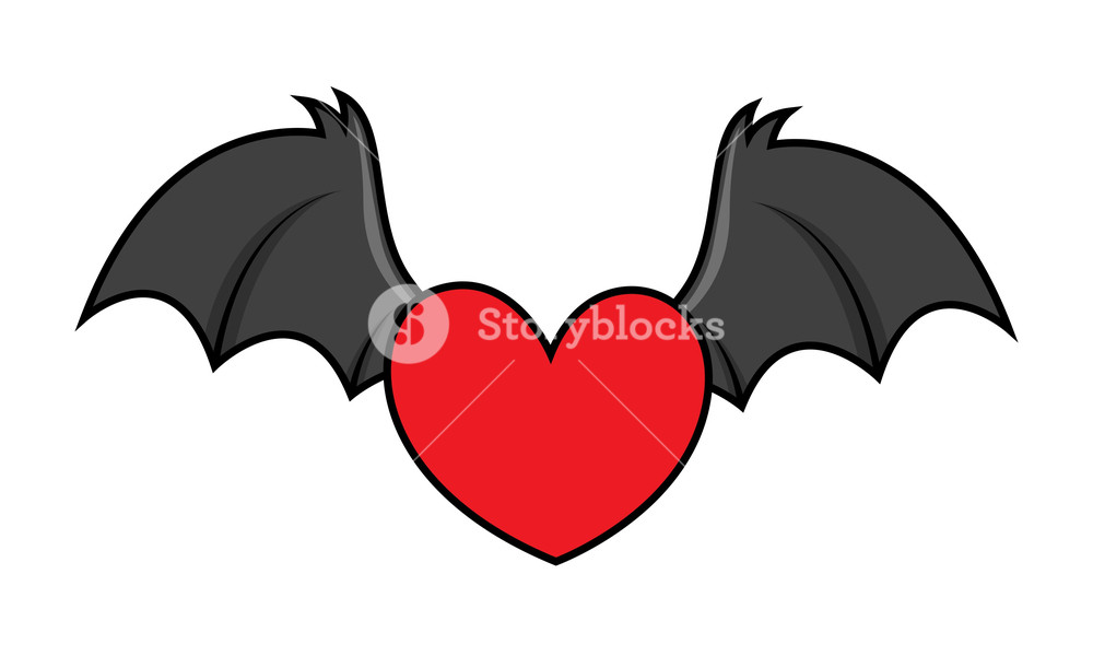 1000x600 Flying Evil Heart With Bat Wings